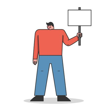Protest Action Concept. Dissatisfied Man Is Complaining, Striking And Protesting Holding Big Protest Banner. Character Is Demonstrating With Placard. Cartoon Linear Outline Flat Vector Illustration