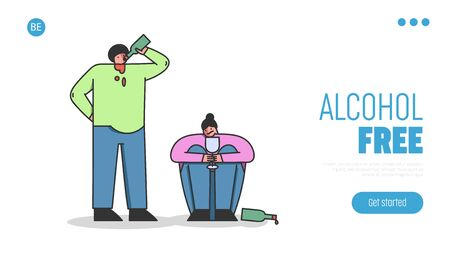 Concept Of Alcoholism, Drink Alcohol. Website Landing Page. Male And Female Characters Are Drinking Wine, Man Drink Straight From The Bottle. Web Page Cartoon Linear Outline Flat Vector Illustration 向量圖像