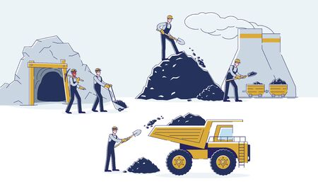 Concept Of Coal Mining. Work Crew Is Mining Coal Together By Means Equipment And Transport For The Further Delivery To The Thermal Power Plant. Cartoon Linear Outline Flat Style. Vector Illustration
