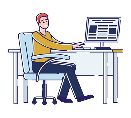 Press Media Industry, Newspaper Production Process. Worker Work In Printing House, Creating Template Of Fresh Issue Of Newspaper On The Computer. Cartoon Linear Outline Flat Style Vector Illustration