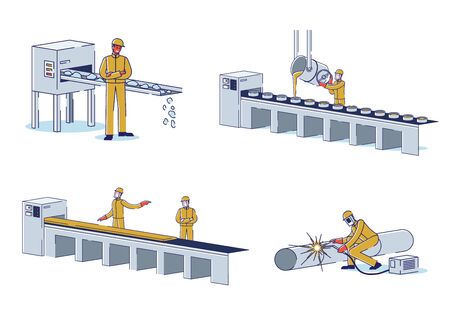 Metallurgical Industry Concept. Characters Work At Metallurgical Plant Melting Steel, Control Processes Of Manufacturing Metal. Factory Workshop. Cartoon Linear Outline Flat Vector Illustrations Set Ilustracja