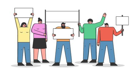 Mass Protest Action Concept. Group Of Dissatisfied People Are Protesting Outdoor Holding Big Protest Placards. Crowd Of People Demonstrating Together. Cartoon Linear Outline Flat Vector Illustration
