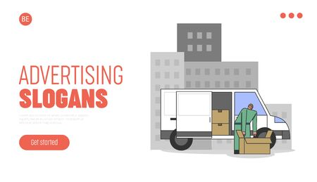 Concept Of City Advertisement. Website Landing Page. Male Character Or Courier Unpacking Promotional Item To Post On Big Billboard. Web Page Cartoon Linear Outline Flat Style. Vector Illustration