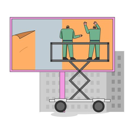 Concept Of City Advertisement. Male Characters Are Gluing Poster On Big Billboard Using Scissor Lift. Outdoor Advertising Poster On the Street. Cartoon Linear Outline Flat Style. Vector Illustration
