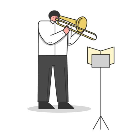 Symphony Orchestra, Musical School Concept. Musician Plays Trombone. Male Character Is Playing Composition In Theatre Looking At Sheet Music. Cartoon Linear Outline Flat Style. Vector Illustration