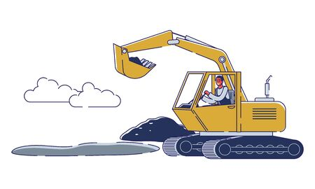 Concept Of Road Works. Worker Repair Road Surface. Character Is Working With Heavy Machinery. Worker Use Excavator To Repair And Lay Asphalt Maintenance. Cartoon Linear Outline Vector Illustration 向量圖像