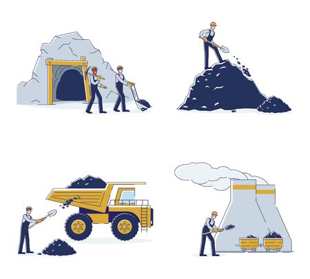 Concept Of Coal Mining. Work Crew Mine Coal By Means Equipment And Transport For Further Delivery To The Thermal Power Plant And Warehouse. Cartoon Linear Outline Flat Style. Vector Illustrations Set