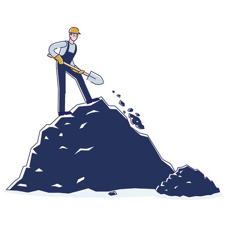Coal Mining, Extraction Industry Concept. Miner Is Mining Minerals Standing On The Coal Rock By Means Shovel. Extraction Industry. Man Work in Quarry. Cartoon Linear Outline Flat Vector Illustration