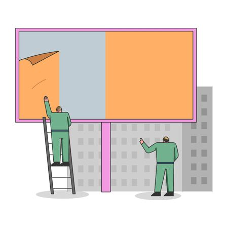 Concept Of Advertisement. Workers In Uniform Are Mounting Poster On Big Billboard Using Ladder. Outdoor Advertising Poster On the City Street. Cartoon Linear Outline Flat Style. Vector Illustration 向量圖像