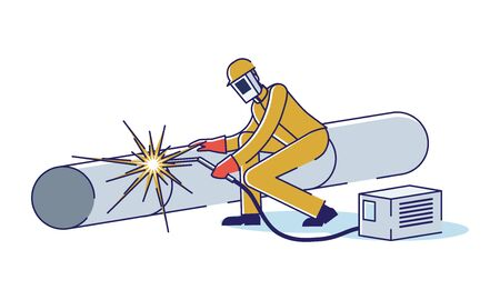 Metallurgical Industry Concept. Man Welds Pipe By ARC Welder. Professional Character In Uniform At Metallurgical Plant. Manufacturing Metal Products. Cartoon Linear Outline Flat Vector Illustration