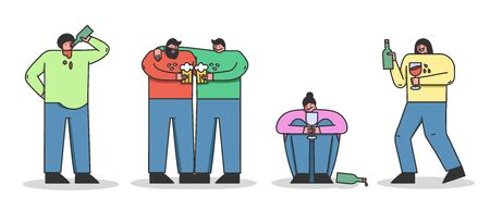 Concept Of Alcoholism, Drink Alcohol. Group Of People Is Drinking Beer, Wine, Communicating And Having Fun Together. Alcohol Addiction Of Population. Cartoon Linear Outline Flat Vector Illustration Stock Illustratie