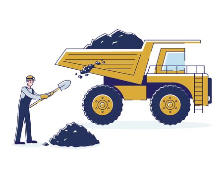 Concept Of Coal Mining. Worker Is Loading Coal By Means Shovel In The Back Of The Truck For The Further Delivery To The Warehouses And Plants. Cartoon Linear Outline Flat Style. Vector Illustration