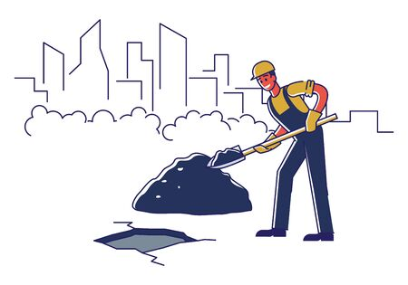 Concept Of Renovation Of Road. Worker Is Repairing Road Surface With Work Tools. Male Character In Uniform Use Shovel To Repair And Lay Asphalt. Cartoon Linear Outline Flat Style. Vector Illustration