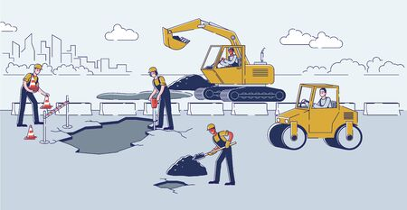 Concept Of Road Works. Workers Repair Road Surface. People Work With Tools And Heavy Machinery. Workers Use Excavator And Steamroller To Lay Asphalt. Cartoon Linear Outline Flat Vector Illustration
