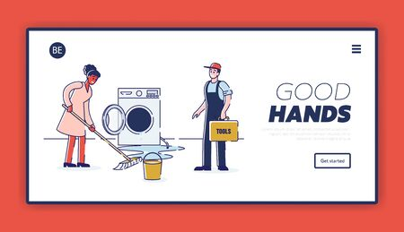 Concept Of Electric Appliances Service. Website Landing Page. Household Called Repairman To Fix Appliances. Serviceman Repair Washing Machine. Web Page Cartoon Linear Outline Flat Vector Illustration 向量圖像