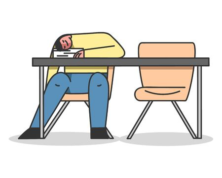 Concept Of Studying And Higher Education, Gainging Knowledge. Male Character Student Fell Asleep At The Desk During Lecture In The University. Cartoon Linear Outline Flat Style. Vector Illustration