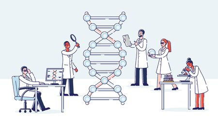 Genetic Engineering Concept. Group Of Professional Scientists Work With Molecule DNA. Medicine And Technology. DNA Testing, Genetic Diagnosis Concept. Cartoon Linear Outline Flat Vector Illustration