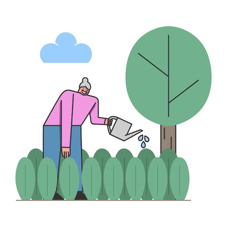 Concept Of Leisure Of Retired People. Happy Aged Female Character Enjoy Her Hobby. Woman Is Gardening, Planting And Watering Plants With Watering Can. Cartoon Linear Outline Flat Vector Illustration