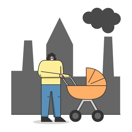 Concept Of Environmental Protection, Air Pollution. Woman In Protective Face Mask Is Walking on Street With Pram Against Factory Pipes Emitting Smoke. Cartoon Linear Outline Flat Vector Illustration