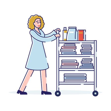 Concept Of Room Service, Cleaning Hotel Rooms. Female Character Pushing The Cart With Clean Towels And Cleaning Agents. Chambermaid with Clean Towels. Cartoon Linear Outline Flat Vector Illustration Vettoriali
