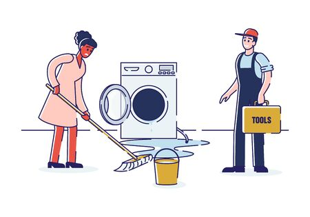 Concept Of Electric Appliances Service. Bewildered Household Called Repairman To Fix Appliances. Serviceman With Toolbox Is Repairing Washing Machine. Cartoon Linear Outline Flat Vector Illustration 向量圖像