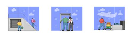 Men And Women Go Through Security Measures Procedures For Safety Of Passengers In The Airport. Characters Have Security Screening, Carry Luggage. Cartoon Linear Outline Flat Vector Illustrations Set Illustration