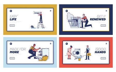 Concept Of Electric Appliances Service. Website Landing Page. Repairmen Workers Are Fixing Appliances. Repair Service Appointment. Web Page Cartoon Linear Outline Flat Style. Vector Illustrations Set
