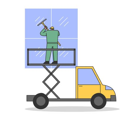 Window Cleaner In Uniform With Professional Equipment For Cleaning Windows. Man Cleaning Facade Windows Of Building Using High Working Truck Platform. Cartoon Linear Outline Flat Vector Illustration