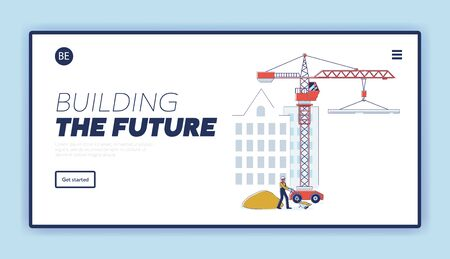 Concept Of Construction. Website Landing Page. Builder Is Carrying Wheelbarrow With Sand On Under Construction House And Tower Crane Background. Web Page Cartoon Linear Outline Vector Illustration Vetores