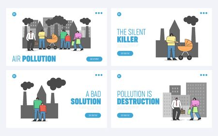 Concept Of Air Pollution. Website Landing Page. Men And Women Are Wearing Protective Medical Face Masks To Prevent Health Problems. Web Page Cartoon Linear Outline Flat Style Vector Illustrations Set