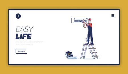 Concept Of Electric Appliances Service. Website Landing Page. Professional Repairman Is Fixing Appliances. Man Repair Split Air Conditioner. Web Page Cartoon Linear Outline Flat Vector Illustration