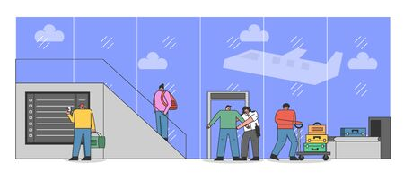 People In Airport Terminal. Men And Women Go Through Security Measures Procedures. Characters Have Security Screening, Check-in, Carry Luggage. Cartoon Linear Outline Flat Style Vector Illustration