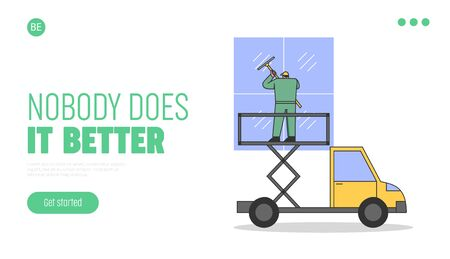 Cleaning Service Concept. Website Landing Page. Worker In Uniform is Cleaning Facade Windows Of Building Using High Working Truck Platform. Web Page Cartoon Linear Outline Flat Vector Illustration Vetores