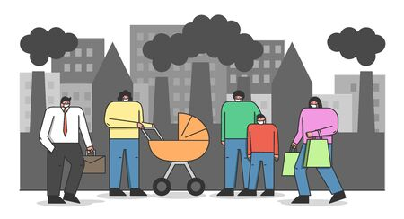 Concept Of Environmental Protection, Air Pollution. People In Protective Face Masks Walk on Street Against Factory Pipes Emitting Smoke on Background. Cartoon Linear Outline Flat Vector Illustration Illustration