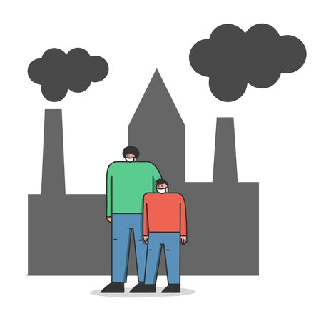 Concept Of Environmental Protection, Air Pollution. Father And Son In Protective Face Masks Are Walking on Street Against Factory Pipes Emitting Smoke. Cartoon Linear Outline Flat Vector Illustration