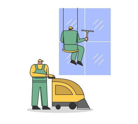 Cleaning Service Workers With Professional Equipment For Cleaning. Men Cleaning Facade Windows Of Skyscraper And Floor By Floor Cleaning Machine. Cartoon Linear Outline Flat Style Vector Illustration