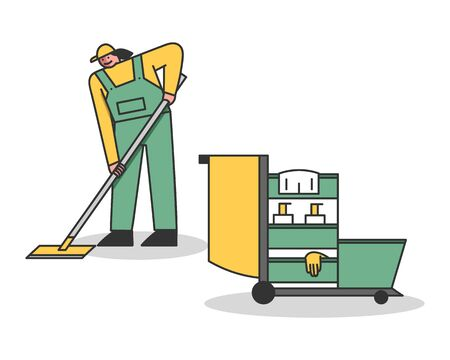 Cleaning Service And Staff Concept. Woman In Uniform Washing Floor By Mop. Janitorial Cleaning Cart With Tools. Multi Purpose Janitorial Service. Linear Outline Cartoon Flat Style Vector Illustration