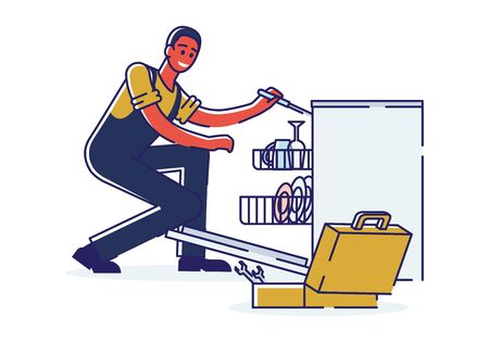 Concept Of Electric Appliances Service. Professional Worker Repairman In Uniform Fix Broken Appliances. Man Is Repairing Dishwasher Using Tools. Cartoon Linear Outline Flat Style. Vector Illustration 向量圖像
