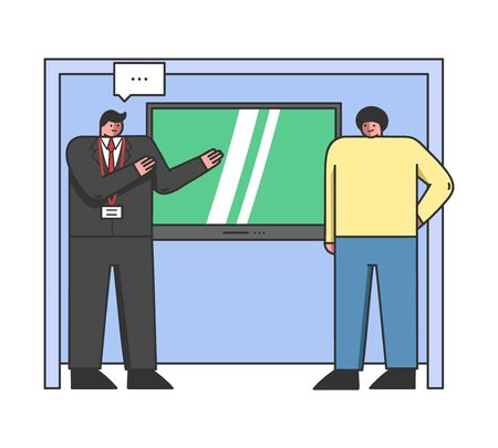 Concept Of Exhibition. Male Characters Standing With Promo Stand, Big TV On The Wall And Representing Their Products. People Sale Appliances. Cartoon Linear Outline Flat Style. Vector Illustration