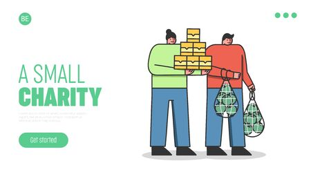 Food Donation Concept. Website Landing Page. Volunteers Standing Holding Lots Of Food Supply. People Donate Food To Poor Needy People. Web Page Cartoon Linear Outline Flat Style. Vector Illustration