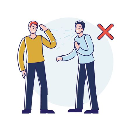 Viral Infection Protection. Infographic With Male Sneezing Character Not Covering His Mouth According Rules. Man Putting in Danger The Another Person. Cartoon Linear Outline Flat Vector Illustration