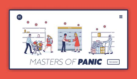 Coronavirus Panic Shopping Concept. Website Landing Page. People Buying Lots Of Food, Fighting Because Of Food Supply Deficit At Supermarket. Web Page Cartoon Linear Outline Flat Vector Illustration