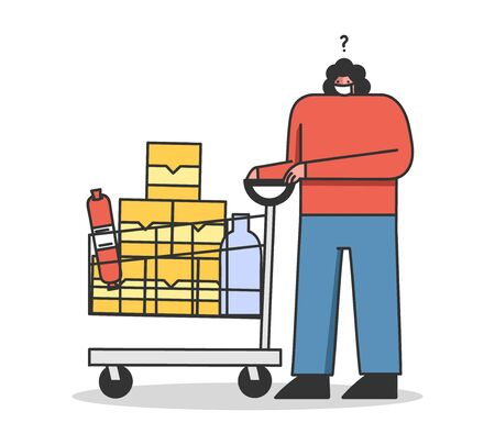 Concept Of a Quarantine During Coronavirus. Customer Woman With Trolley Full Of Food In The Supermarket Wearing Protective Mask For Her Safety. Cartoon Linear Outline Flat Style. Vector Illustration Vettoriali