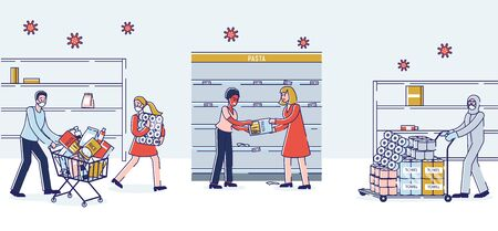 Concept Of Coronavirus Panic Shopping. People In Panic Buying Lots Of Food, Fighting Because Of Food Supply Deficit At Supermarket With Empty Shelves. Cartoon Linear Outline Flat Vector Illustration Vettoriali