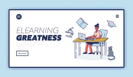 Concept Of Elearning And Self Education. Website Landing Page. Girl Student Takes A Course. Character Learns Different Professions Remotely. Web Page Cartoon Linear Outline Flat Vector Illustration