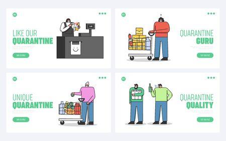 Concept Of Quarantine During Coronavirus. Website Landing Page. Precautionary Measures For People In Form Of Wearing Protective Masks. Web Page Cartoon Linear Outline Flat Vector Illustrations Set Ilustração Vetorial