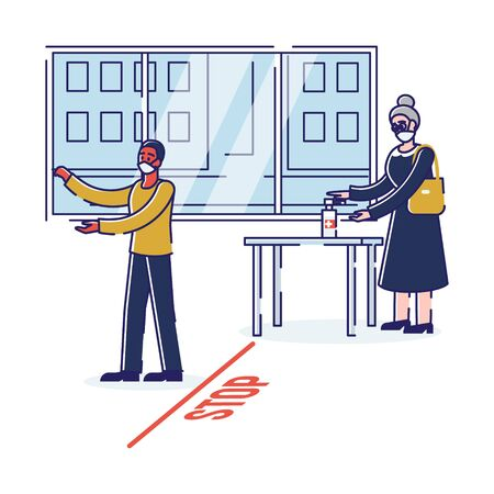 Concept Of Precautionary Measures During Quarantine. People Follow Rules In Coronavirus Period, Disinfection Hands Before Enter To Public Places. Cartoon Linear Outline Flat Style Vector Illustration