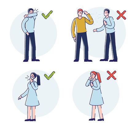 Concept Of Viral Infection Protection. Infographic With Rules How To Sneeze Correctly During Coronavirus Epidemic. People Sneeze In Public Place. Cartoon Linear Outline Flat Style Vector Illustration
