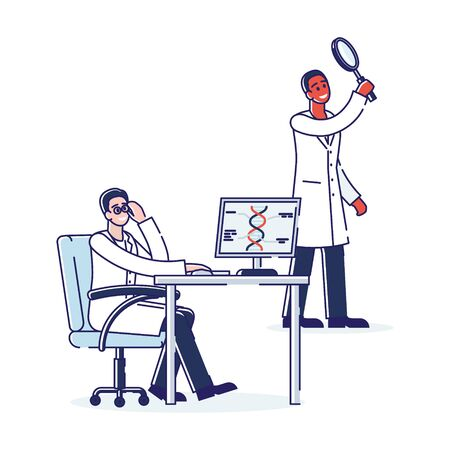 Genetic Engineering And Diagnosis Concept. Professional Scientists Researching Of Molecule DNA. Person Predisposition Genetic Disorder Determination. Cartoon Linear Outline Flat Vector Illustration