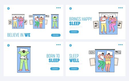 Disturbance Of Dream Concept. Website Landing Page. Men And Women Sleep On Bed At Home. Characters Have Dream, Asleep in Bedroom. Web Page Cartoon Linear Outline Flat Style Vector Illustrations Set